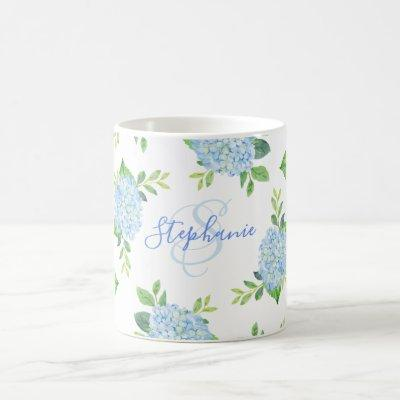 Modern Floral Blue Hydrangea Watercolor Monogram Coffee Mug