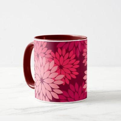 Modern Floral Kimono Print, Coral Pink & Burgundy Mug