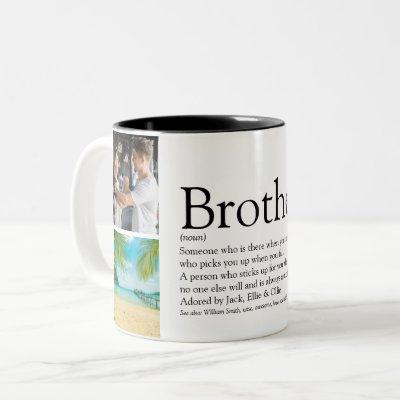 Modern Fun Cool 4 Photo Best Brother Definition  Two-Tone Coffee Mug