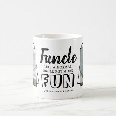 Modern Funny Quote 'Funcle' 2 x Photo | Uncle Coffee Mug