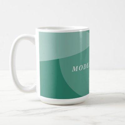 Modern geometric abstract sage green custom office coffee mug