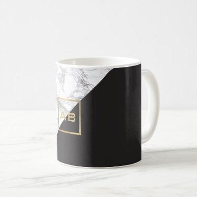 Modern Geometric Marble/Black Monogram Logo Coffee Mug
