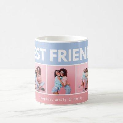 Modern girly multi photo script trendy bestfriends coffee mug
