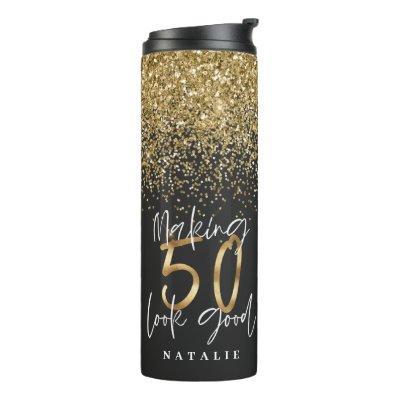 Modern glitter black and gold 50th birthday thermal tumbler