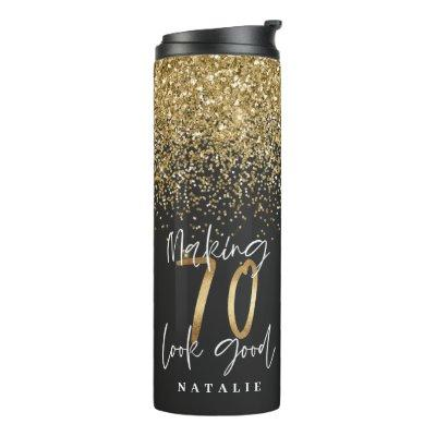 Modern glitter black and gold 70th birthday thermal tumbler