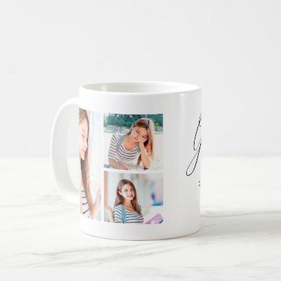 Modern Graduation Photo Collage Class of 2021 Name Coffee Mug