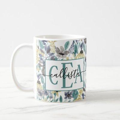 Modern Gray Yellow Floral Watercolor Monogram Coffee Mug