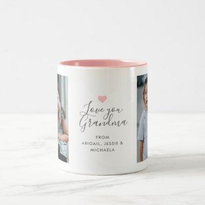 """Modern """"Love you Grandma"""" 2-Photo Two-Tone Coffee Mug"""