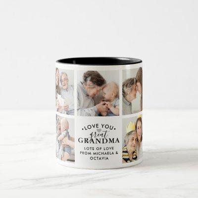 Modern Love You Great Grandma/Granny/Nana 9-Photo Two-Tone Coffee Mug