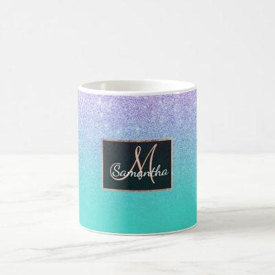 Modern mermaid lavender glitter turquoise ombre coffee mug