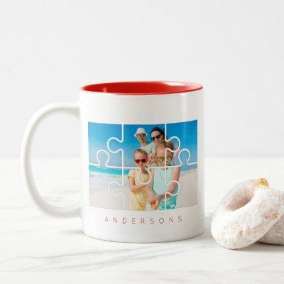 Modern Minimalist Puzzle Family Photo Name Two-Tone Coffee Mug