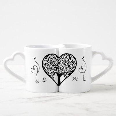 Modern Monogram Tree Life Newlyweds Wedding Coffee Mug Set