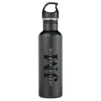 Modern Name & Monogram | Grey & Black Stainless Steel Water Bottle