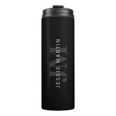Modern Name & Monogram | Grey & Black Thermal Tumbler