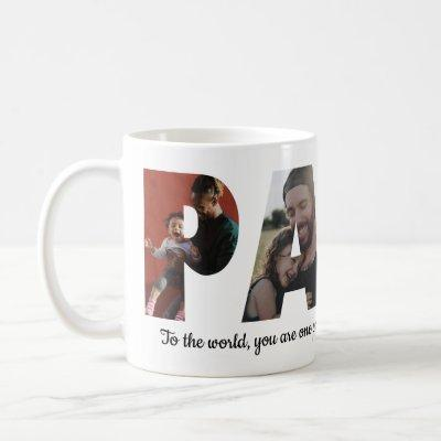 Modern PAPA 4 Photo Collage Happy Father's Day Coffee Mug