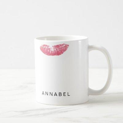 Modern personalized pink gloss lipstick mark coffe coffee mug