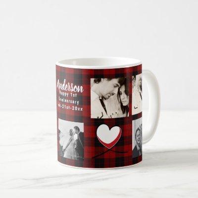 Modern PHOTO COLLAGE Buffalo Plaid Love Coffee Mug