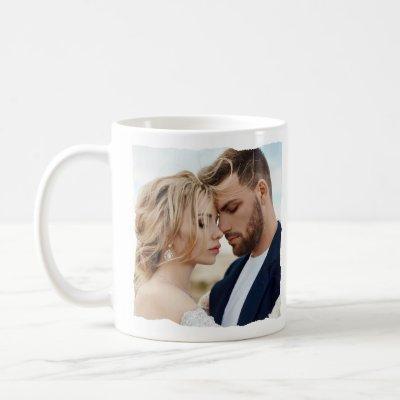 Modern photo wedding personalized Mr and Mrs Coffee Mug