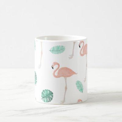 Modern pink flamingo tropical leaf watercolor coffee mug
