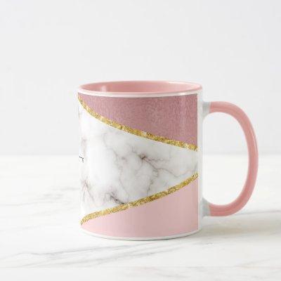 Modern Pink Geometric Marble Personalized Mug