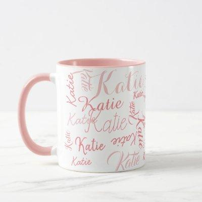 modern pink on white handwritten names mug