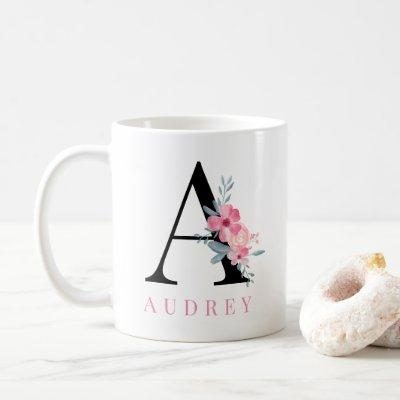 Modern pretty pink coral floral girly monogram coffee mug