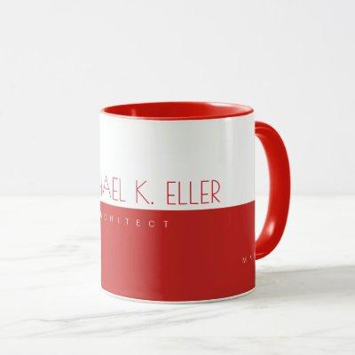 modern prof (architect) half-red half-white mug