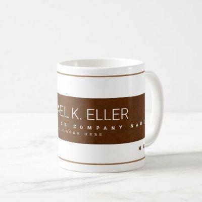 modern profession business name brown coffee mug