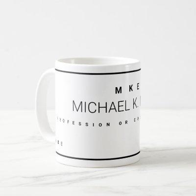 modern profession business name white coffee mug