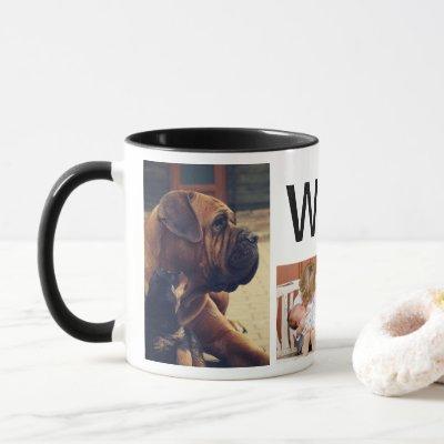 Modern Rustic Deer Antlers & 4 Family Photos Mug