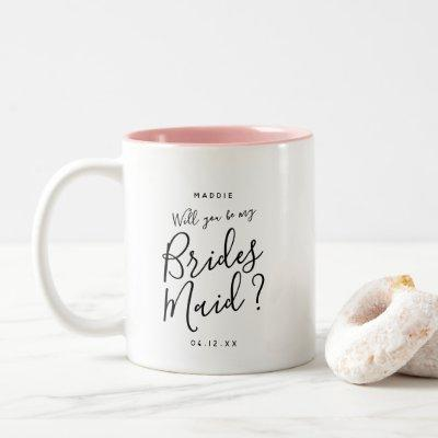 Modern Script Brides Maid Question Custom Name Two-Tone Coffee Mug