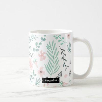 Modern spring pink mint floral watercolor pattern coffee mug