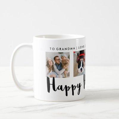 Modern Typography Happy Hanukkah Four Photo Grid Coffee Mug