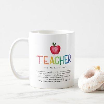 Modern Watercolor Rainbow Teacher Thank You  Coffee Mug