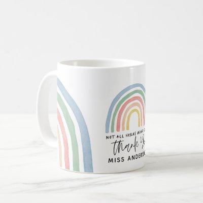 Modern watercolor rainbow teacher thank you gift coffee mug