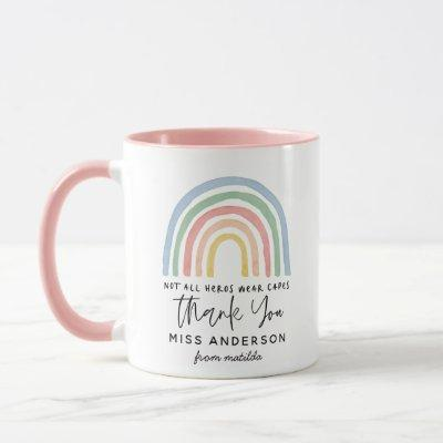 Modern watercolor rainbow teacher thank you gift mug