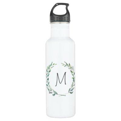 Modern Watercolor Wreath Monogram Water Bottle