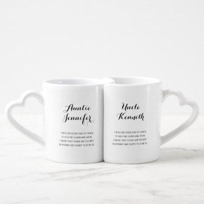 Modern Will You Be My Godmother Godfather Coffee Mug Set
