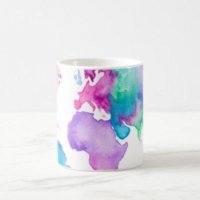 Modern world map globe bright watercolor paint coffee mug