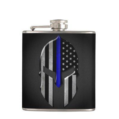 Molon Labe Thin Blue Line Flask