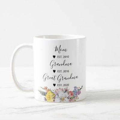 Mom, Grandma, Great Grandma Pregnancy Announcement Coffee Mug
