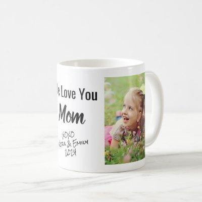 Mom We Love You Personalized Photo & Names Coffee Mug