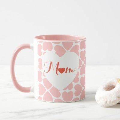 Mom with Pink Four Leaf Clover Hearts Mug
