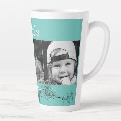 Mom's Angels 3 Photo Sunflower Latte Latte Mug