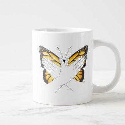 Monarch Butterfly In ASL Giant Coffee Mug