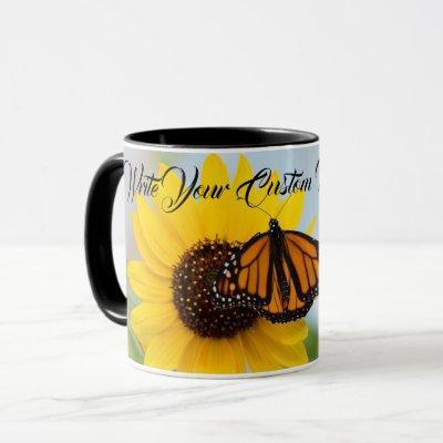 Monarch Butterfly & Sunflower Black Mug