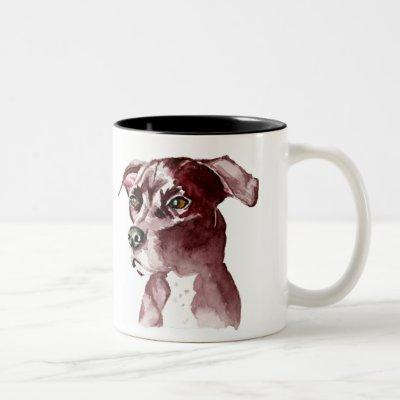Monochromatic Pitbull Dog Watercolor Painting Two-Tone Coffee Mug