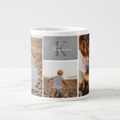 Monochrome Monogram Photo Mug