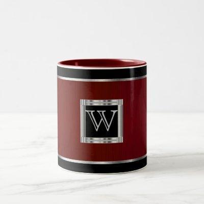 Monogram  Black and Silver on Brush Maroon Two-Tone Coffee Mug