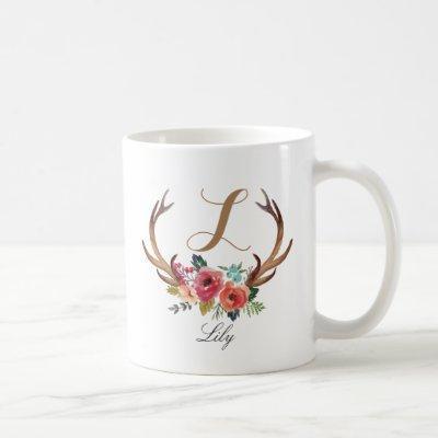 Monogram,custom floral deer horn-3 coffee mug